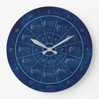 Circle of fifths elegant blue design for musicians large clock