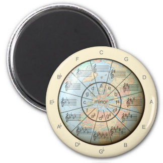 Circle of Fifths for Music Around the Globe 2 Inch Round Magnet