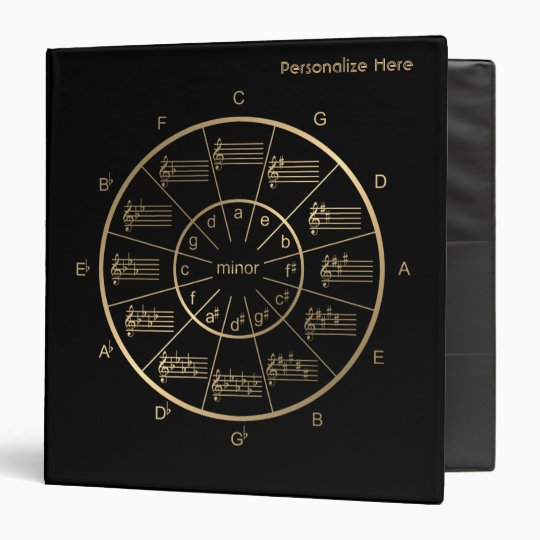 Circle of Fifths in Gold for All Musicians 3 Ring Binders