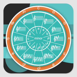 Circle of Fifths Modern Art Chart Square Sticker