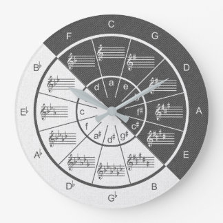 Circle of Fifths Musical Gray Denim Half & Half Large Clock