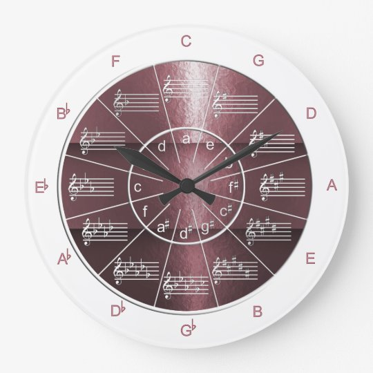 Circle of Fifths Plum-coloured Musical Shine Large Clock