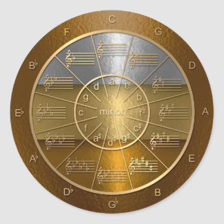 Circle of Fifths Shines for Musicians Classic Round Sticker