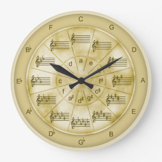 Circle of Fifths Tan Marble for Musicians Wall Clocks