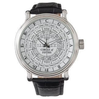 Circle of Fifths White Vintage Leather Watch