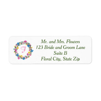 Circle of Flowers Monogram Address Labels