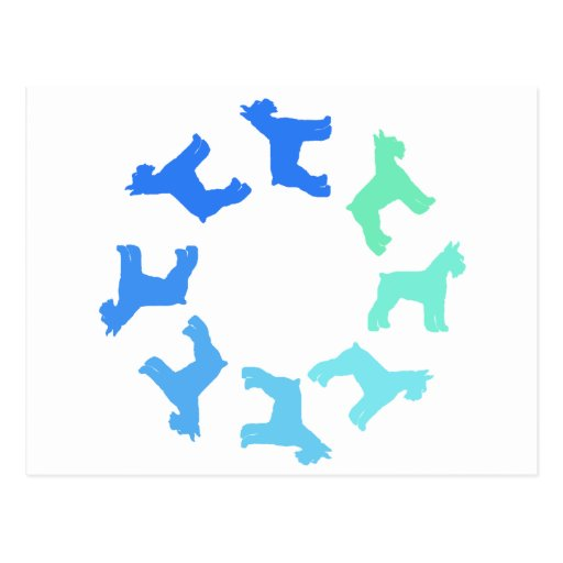 Circle of Giant Schnauzers (blue to green) Post Cards