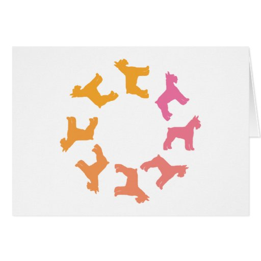 Circle of Giant Schnauzers (pinks to oranges) Greeting Cards