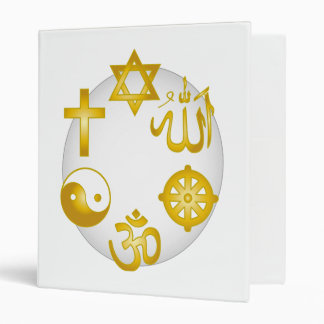 Circle of Golden Symbols of the Major Religions Binders
