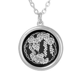 Circle of grape silver plated necklace