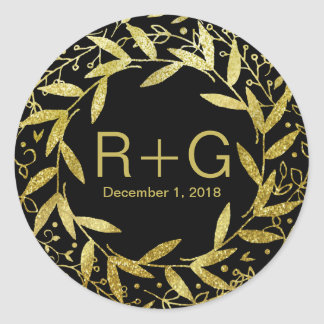 Circle of Leaves Wreath Gold Glitter | black Classic Round Sticker