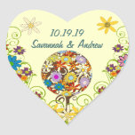 Circle of Love Flower Tree Wedding Heart Seals Heart Stickers