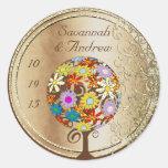 Circle of Love Flower Tree Wedding Seal Sticker