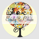 Circle of Love Flower Tree Wedding Stickers Seals