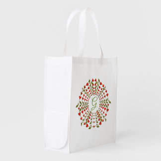 Circle of Love Hearts Monogram Reusable Grocery Bag
