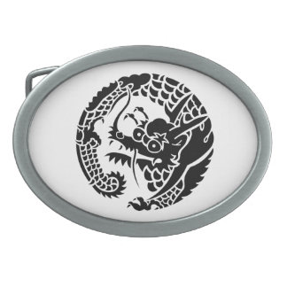 Circle of Nichiren sect dragon Oval Belt Buckle
