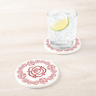Circle of Roses – Red Rose Outlines Coaster