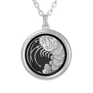 Circle of shrimp silver plated necklace