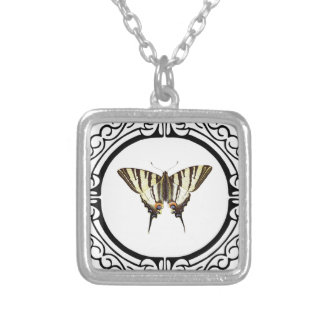 circle of the butterfly silver plated necklace