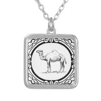 circle of the camel silver plated necklace