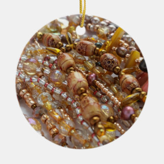 Circle Ornament- Natural Earthtones Beads Print Ceramic Ornament
