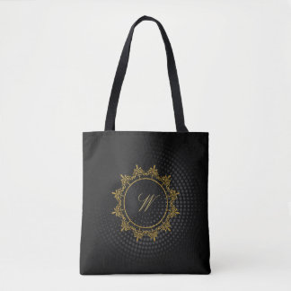 Circle Ornaments Monogram on Black Circular Tote Bag