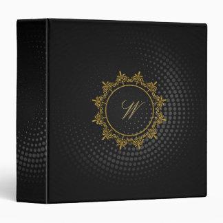 Circle Ornaments Monogram on Black Circular Vinyl Binder