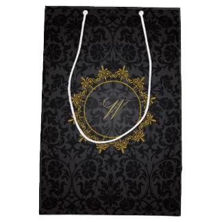 Circle Ornaments Monogram on Black Damask Medium Gift Bag
