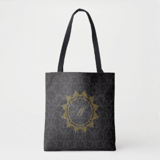 Circle Ornaments Monogram on Black Damask Tote Bag