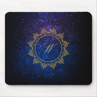 Circle Ornaments Monogram on Blue Galaxy Mouse Pad