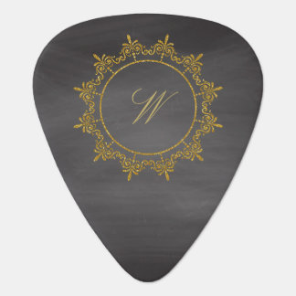 Circle Ornaments Monogram on Chalkboard Guitar Pick
