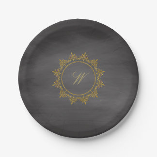 Circle Ornaments Monogram on Chalkboard Paper Plate