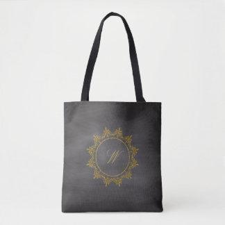 Circle Ornaments Monogram on Chalkboard Tote Bag