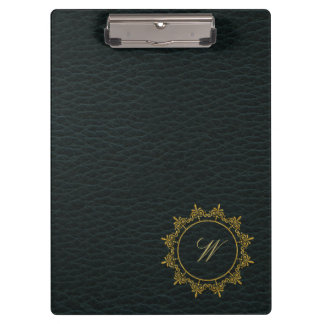 Circle Ornaments Monogram on Dark Leather Clipboard