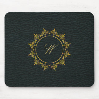 Circle Ornaments Monogram on Dark Leather Mouse Pad