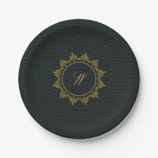Circle Ornaments Monogram on Dark Leather Paper Plate