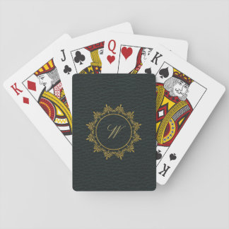 Circle Ornaments Monogram on Dark Leather Playing Cards