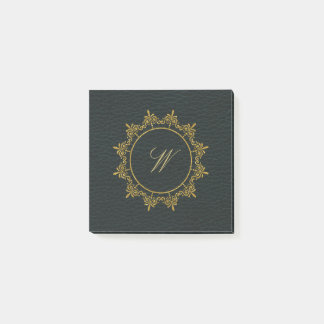 Circle Ornaments Monogram on Dark Leather Post-it Notes