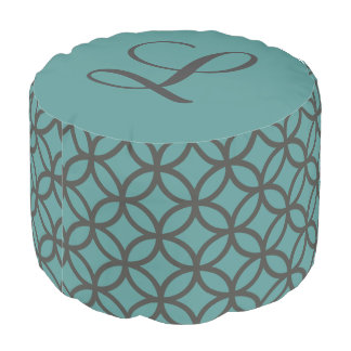 Circle Pattern Geometric Teal Pouf with Initial