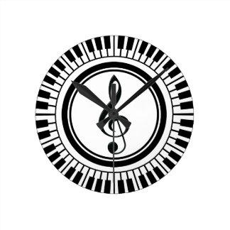 Circle Piano Keys and Treble Clef Round Clock