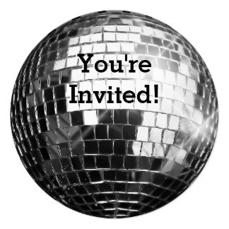 Circle Round Silver Disco Ball Cool Birthday Party Card