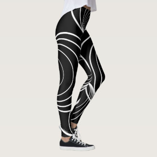 Circle Strip with Black background Leggings