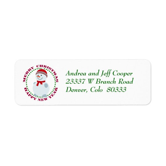 Circle Text Christmas Snowman Return Address Label