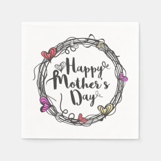 Circle w/ Hearts Happy Mother's Day | Napkin Paper Napkin