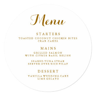 Circle Wedding Menu Card