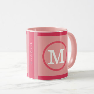 circle with name initial M, cool & modern pink Mug