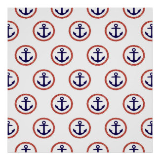 Circled Anchors Nautical Pattern Poster