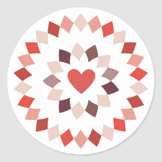 Circled Heart Classic Round Sticker