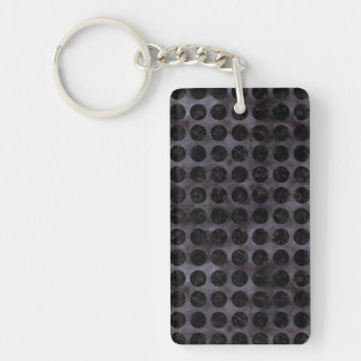 CIRCLES1 BLACK MARBLE & BLACK WATERCOLOR (R) KEYCHAIN