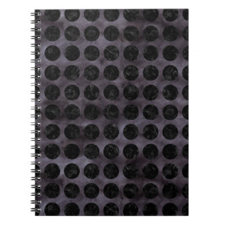 CIRCLES1 BLACK MARBLE & BLACK WATERCOLOR (R) SPIRAL NOTEBOOK